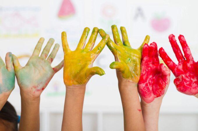 Children's hands painted